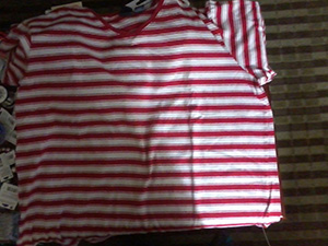 A red and white striped shirt - same material and shade of red as my red t-shirt